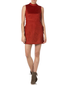 Miss Me Rust Sleeveless Faux Suede Dress, , hi-res