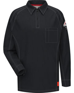 Bulwark Men's Black iQ Series Flame Resistant Long Sleeve Polo - Big & Tall, , hi-res