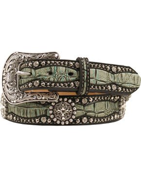 Ariat Gator Print Leather Belt, Green, hi-res