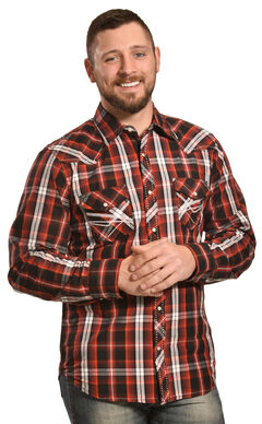Ely 1878 Men's Red and Black Plaid Pickstitch Western Shirt , , hi-res