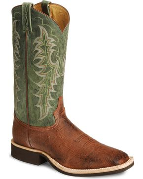 Tony Lama Smooth Ostrich Crepe Cowboy Boots - Square Toe, Almond, hi-res
