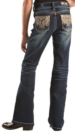 Grace in LA Girls' Dark Wash Lattice Scroll Pocket Bootcut Jeans   , Indigo, hi-res