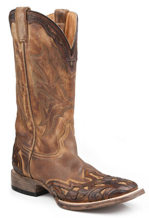 Stetson Hand Tooled Antique Oak Wingtip Boots - Wide Square Toe, Brown, hi-res