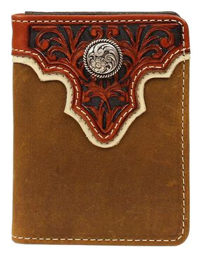Ariat Tooled Overlay & Concho Bi-fold Wallet, Light Brown, hi-res