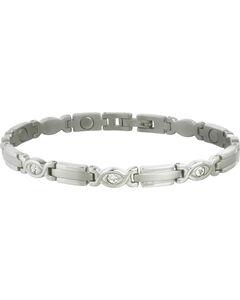 Sabona Women's Executive Silver Gem Magnetic Bracelet, Steel, hi-res