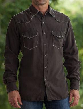 Ryan Michael Men's Coffee Whip Stitch Silk Twill Shirt , Brown, hi-res