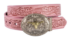 Exclusive Gibson Trading Co. Girls' Reversible Tooled Belt, Pink, hi-res