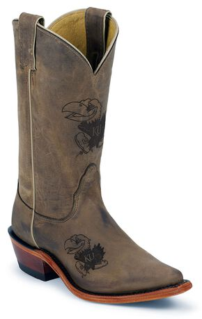 Nocona University of Kansas College Cowgirl Boots - Snip Toe, Tan, hi-res