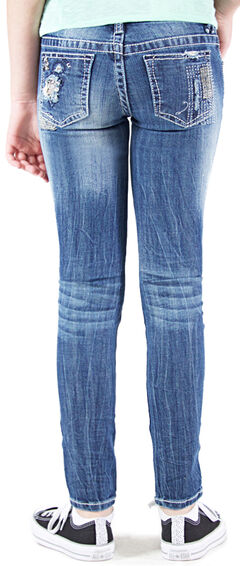 Grace in LA Girls' Embellished Skinny Jeans , Indigo, hi-res