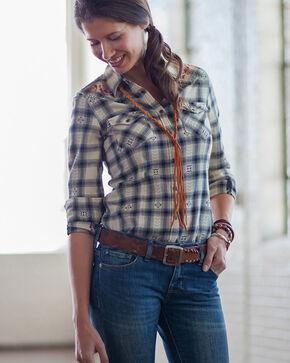 Ryan Michael Women's Cream Black Hawk Plaid Shirt , Cream, hi-res