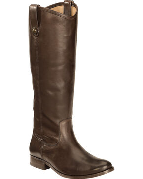 Frye Women's Melissa Button Riding Boots - Wide Calf, Dark Brown, hi-res