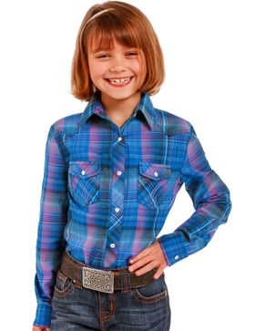 Panhandle Girls' Two Pocket Snap Shirt , Blue, hi-res