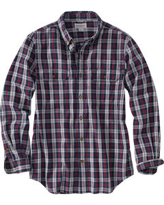Carhartt Men's Navy Plaid Fort Long Sleeve Shirt , , hi-res