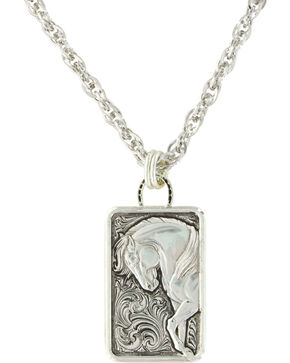 Montana Silversmiths Women's Legacy Of Strength Horse Pendant Necklace , Silver, hi-res