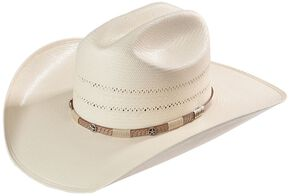 Larry Mahan 10X Wyatt Double Vented Straw Cowboy Hat, Natural, hi-res