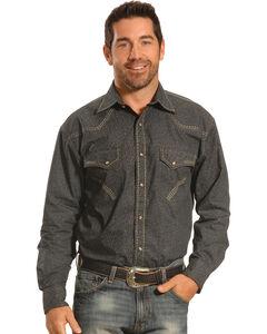 Crazy Cowboy Men's Grey Print Heavy Stitch Western Snap Shirt , , hi-res