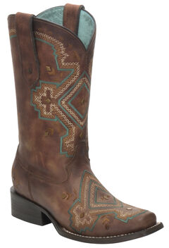 Corral Distressed Brown Studded Diamond Cowgirl Boots - Square Toe, , hi-res
