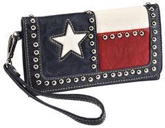 Blazin Roxx Texas Flag Faux Leather Wallet, , hi-res