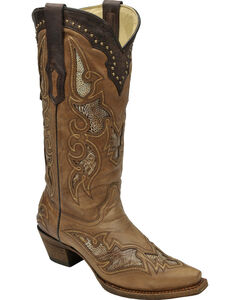 Corral Women's Ostrich Leg Inlay Cowgirl Boots - Snip Toe, , hi-res