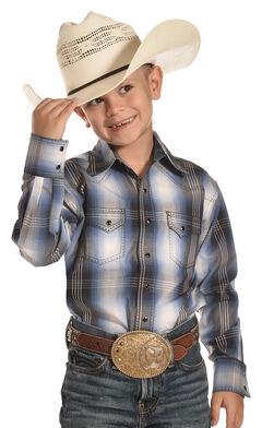 Crazy Cowboy Boys' Light Blue Plaid Shirt - 4-7, , hi-res
