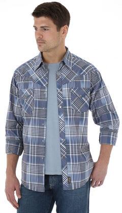 Wrangler Retro Men's Navy Plaid Western Shirt , , hi-res