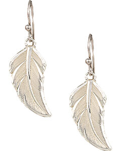 "Montana Silversmiths ""No Dream is Too Small"" Silver Feather Earrings, , hi-res"