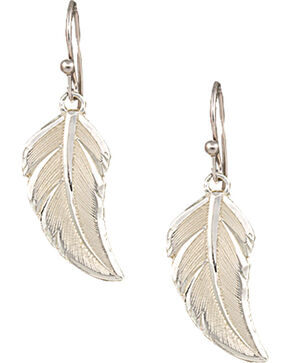 "Montana Silversmiths ""No Dream is Too Small"" Silver Feather Earrings, Silver, hi-res"