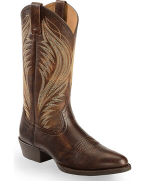 Ariat Boomtown Cowboy Boots - Medium Toe , Brown, hi-res