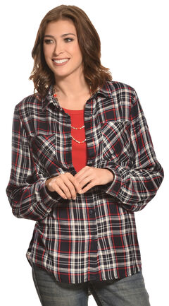 New Direction Sport Women's Navy & Red Plaid Western Shirt, , hi-res