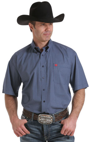 Cinch Men's Navy Geo Print Short Sleeve Shirt, Navy, hi-res