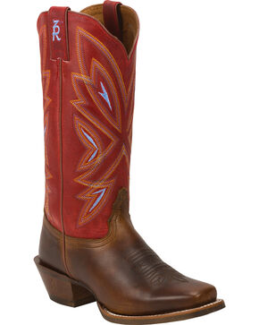 Tony Lama Women's Tan Cuero 3R Cowgirl Boots - Square Toe , Tan, hi-res
