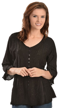 Scully Floral Embroidered Ruffled Sleeve Top, , hi-res