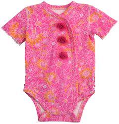 Wrangler Infant Girls' Pink Floral & Rosette Bodysuit - 6M-18M, , hi-res