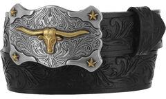 Tony Lama Boys' Black Little Texas Belt and Buckle , , hi-res