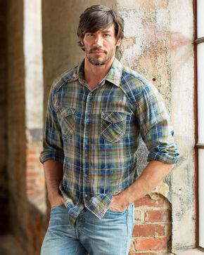 Ryan Michael Men's Indigo Cactus Plaid Shirt, Indigo, hi-res