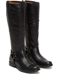 Frye Women's Black Phillip Harness Tall Boots - Round Toe , , hi-res