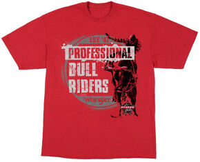Wrangler Boys' Red Bull Riders Short Sleeve Tee , Red, hi-res