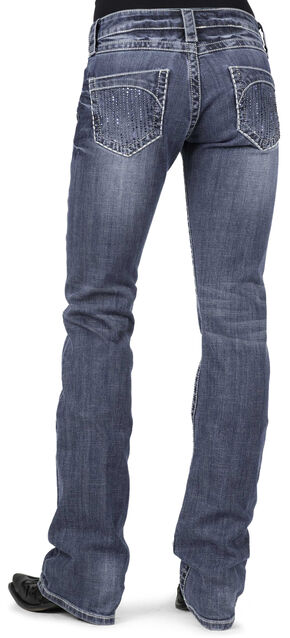 Stetson Women's 818 Contemporary Blue Rhinestone Bootcut Jeans, Denim, hi-res