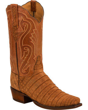 Lucchese Men's Owen Brown Sueded Caiman Belly Western Boots - Square Toe, Brown, hi-res