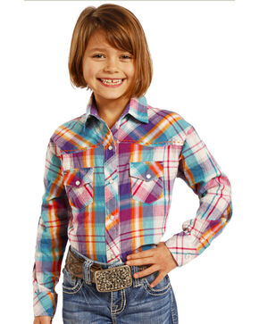 Rock & Roll Cowgirl Girls' Long Sleeve Plaid Snap Shirt, Purple, hi-res