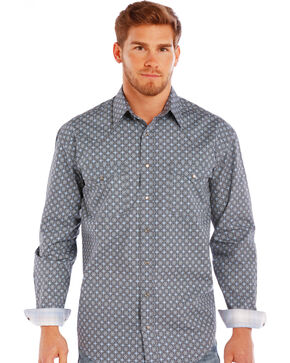 Rough Stock by Panhandle Slim Men's Grey Neuchatel Antique Print Shirt , Grey, hi-res