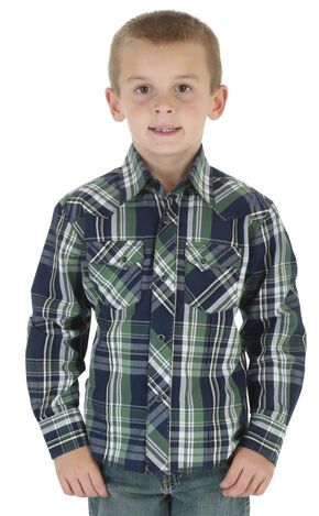 Wrangler Boys' Navy & Green Plaid Western Fashion Snap Shirt, Navy, hi-res