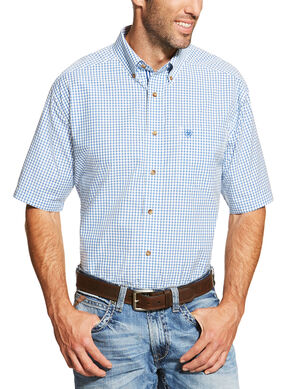 Ariat Men's Blue Ike Short Sleeve Shirt - Big and Tall , Blue, hi-res