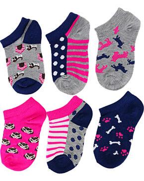 La De Da Girls' Puppy No Show Socks, Multi, hi-res