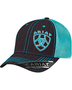Ariat Men's Black Pinstripe Shield Logo Baseball Cap , Grey, hi-res