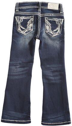 Grace in LA Girls' Dark Wash Abstract Bootcut Jeans , , hi-res