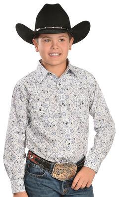 Red Ranch Boys' Pinwheel Print Western Shirt, , hi-res