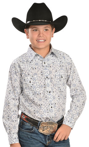 Red Ranch Boys' Pinwheel Print Western Shirt, Blue, hi-res