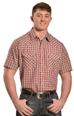 Ely Men's Peach Dobby Check Short Sleeve Western Shirt  , , hi-res