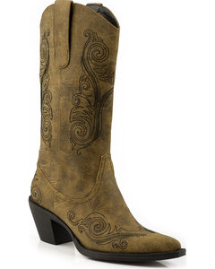 Roper Faux Leather Scroll Embroidered Cowgirl Boots - Pointed Toe, Brown, hi-res